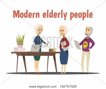 Modern elderly people composition with technology symbols cartoon vector illustration