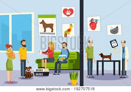 Vet clinic waiting room and veterinarian office dog check up process flat orthogonal flat banners vector illustration