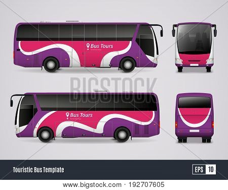 Touristic bus template in realistic style with colored views from frontal back right and left sides isolated vector illustration