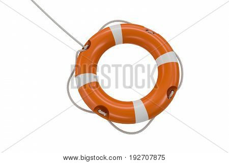 3D Rendered Illustration Of Orange Life Buoy. Isolated On White