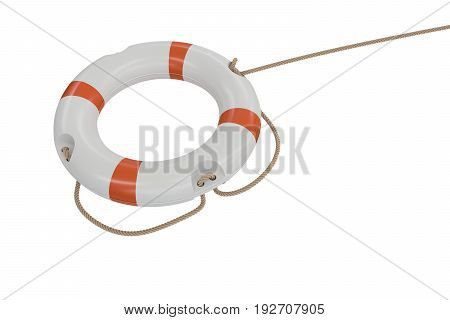 3D Rendered Illustration Of White Life Buoy. Isolated On White B
