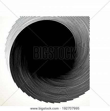 Uniquely Deformed Swirl, Twirl Shape. Monochrome Spiral Design Element. Black And White Abstract Ill