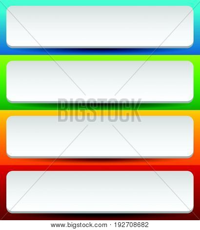 Badge, Button, Banner Set In 4 Bright Color With Slight 3D Effect
