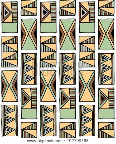 Seamless Vector Pattern. Geometrical Background With Hand Drawn Decorative Tribal Elements In Brown
