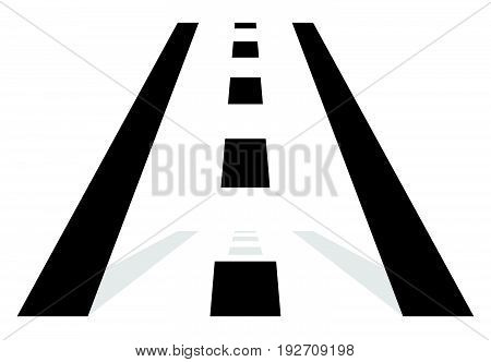 Road Symbol, Road Icon. Straight Road In Perspective. Traffic, Transportation, Driving Concept Icon
