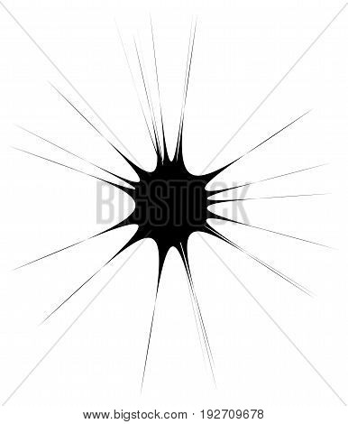 Radial Lines Geometric Element. Abstract Black And White Illustration
