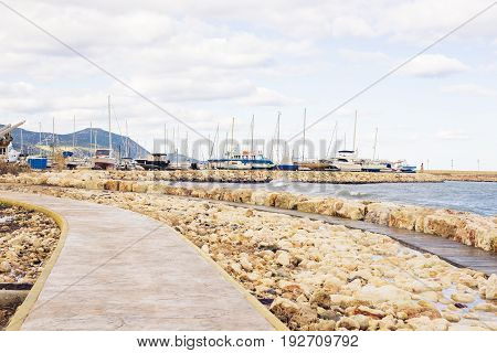 The harbour and port with yachts in cyprus