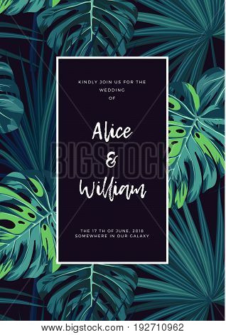 Dark tropical wedding design with jungle plants. Tropical background with green sabal palm and monstera leaves. Vector illustration.