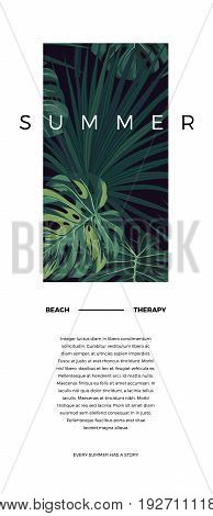 Dark tropical typography postcard design with green jungle palm leaves. space for text. Vector illustration.