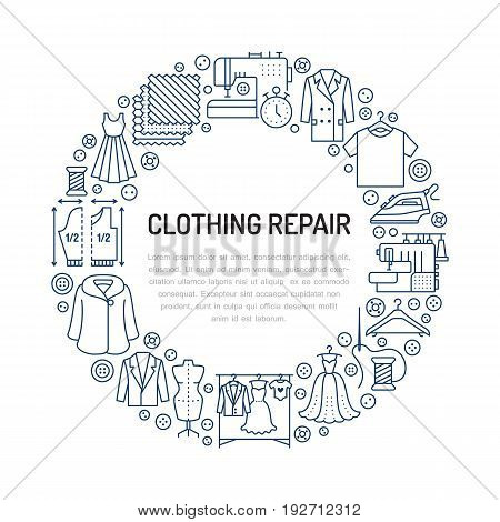 Clothing repair, alterations studio equipment banner illustration. Vector line icon of tailor store services - dressmaking, suit, garment sewing. Clothes atelier circle template with place for text. poster