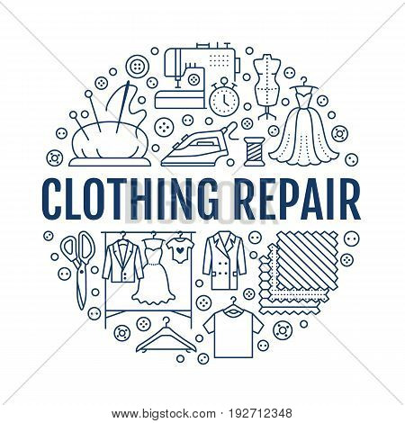 Clothing repair, alterations studio equipment banner illustration. Vector line icon of tailor store services - dressmaking, dress, garment sewing. Clothes atelier circle template with place for text. poster