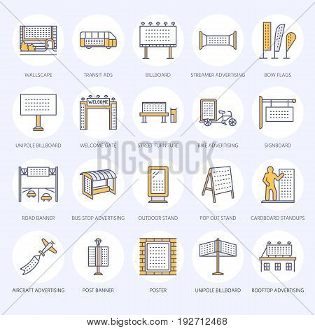 Outdoor advertising, commercial and marketing flat line icons. Billboard, street signboard, transit ads, posters banner and other promotion design element. Trade objects colored thin linear sign.