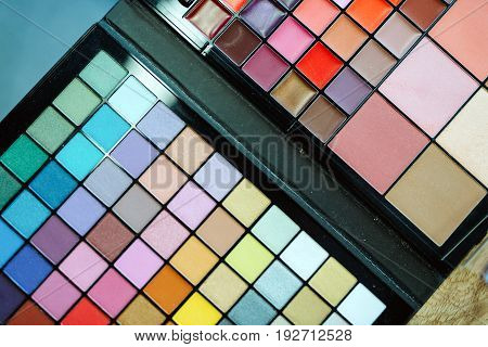 Close up picture of makeup colorful pallete for cosmetics