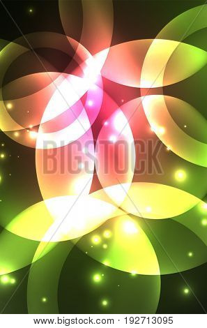 Glowing red and green color shiny overlapping circles composition on dark background, magic style light effects abstract design template