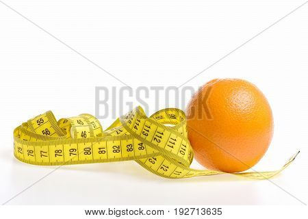 Knot Of Measuring Tape In Yellow Colour Lying Near Orange