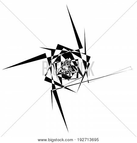 Rough, Edgy Textured Geometric Element. Abstract Black And White Shattered Shape.