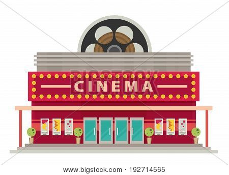 Cinema building flat style. Movie Theater. Vector