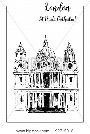 St. Paul's Cathedral. London architectural symbol. Beautiful hand drawn vector sketch illustration. For prints textile advertising poster label City panorama tourism booklet brochure postcard