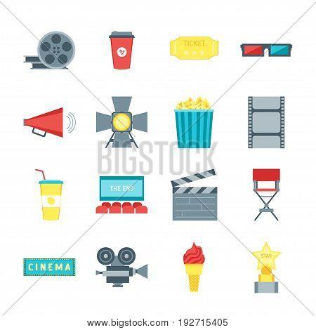 Cartoon Cinema Movie Color Icons Set Symbol Film and Cinematography Flat Style Design. Vector illustration