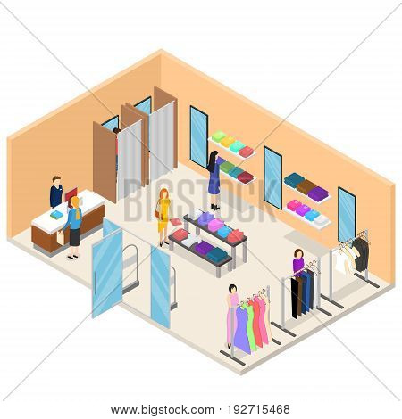 Interior Clothing Store Shop or Boutique Isometric View Fashion Retail Business for Web Design. Vector illustration