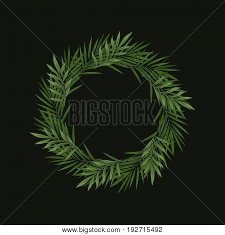 Vector wreath of tropical leaves on black background. Trendy summer tropical concept. Style of wild jungle. Template for the design of invitations greeting cardsposter etc.
