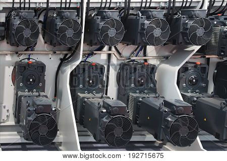 group of electric motors in rolling mill