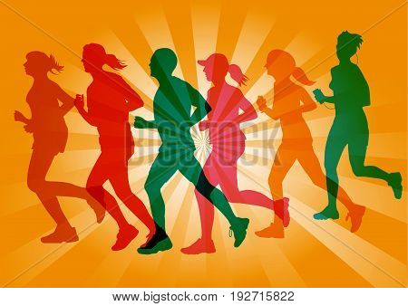 Group of marathon runners illustration with colorful silhouettes