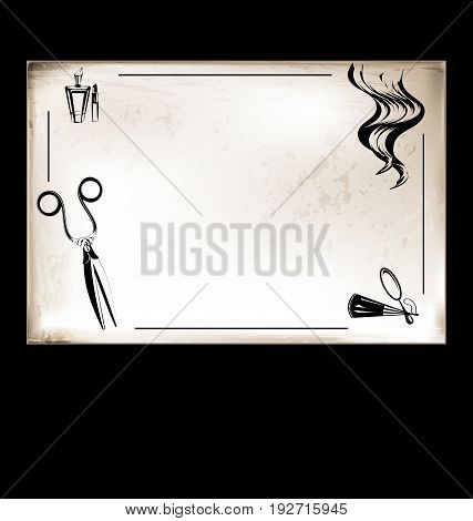 white background, vintage beige-colored card with retro vintage stylized tool for hairdresser