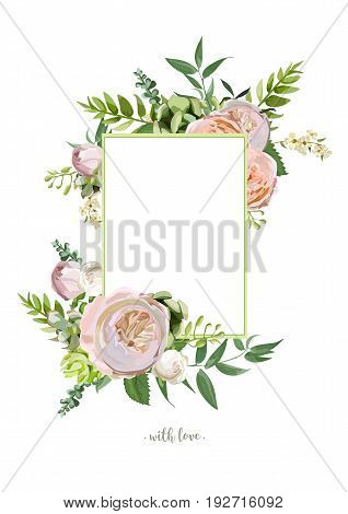 Vector floral design vertical card. Soft pink peach english garden rose eucalyptus green fern seasonal branches leaves mix. Delicate Greeting invitation wedding editable template copy space for text