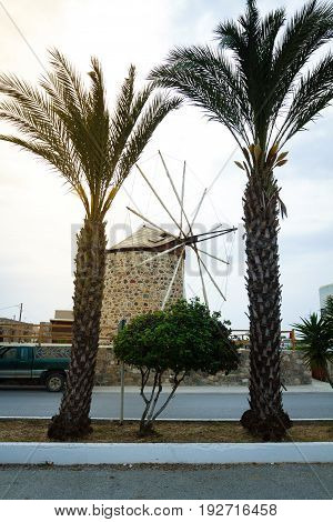Old traditional windmill on the island of Kos in Greece Antimachia.