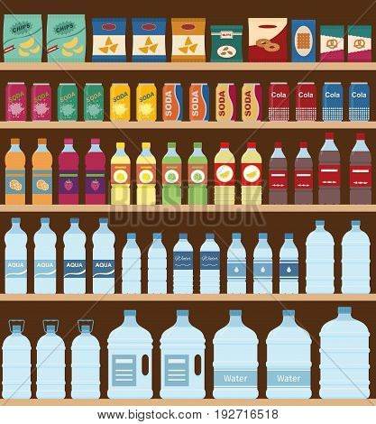 Supermarket shelves with snacks and drinks. Flat style, vector illustration.