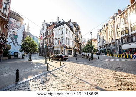 BRUSSELS, BELGIUM - June 01, 2017: Street view with wall art at the old town of Brussels city in Belgium
