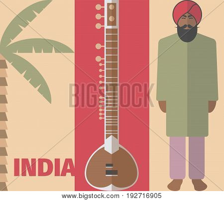 Vector Indian background. Indian poster. Vector signs for web graphics.