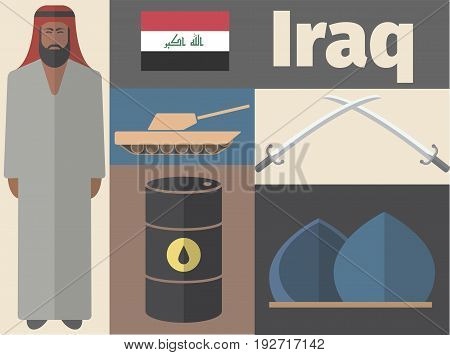 Iraq poster. Flat icon. Vector signs for web graphics.