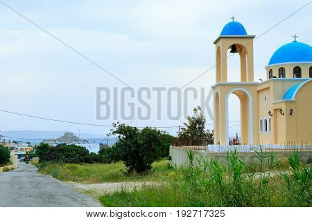 Small church in Kefalos village on Kos island in Greece.