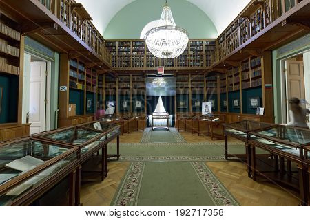 ST. PETERSBURG, RUSSIA - MAY 25, 2017: Interior of main building of National Library of Russia during the exhibition Peter The Great And His Paradise. It is dedicated to 314 anniversary of the city