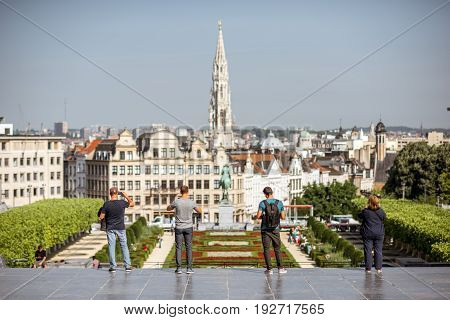 BRUSSELS, BELGIUM - June 01, 2017: Tourists look on the Arts mountain square with great view on the old town of Brussels