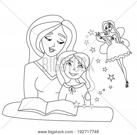 Mom reading a book to her kid , doodle illustration