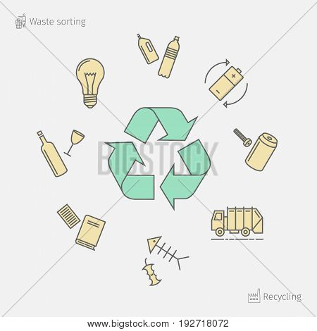 Recycling line icons. Waste sorting set. Vector illustration