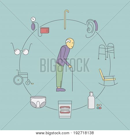 Nursing Home line icon. Medical Care for The Elderly. Symbols of Older People Vector illustration. Vector illustration.