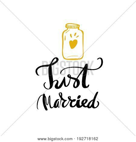 Just married wedding hand written lettering modern calligraphy typography design