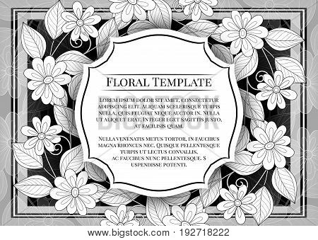 Vector  Mohochrome Floral Template With Place For Text