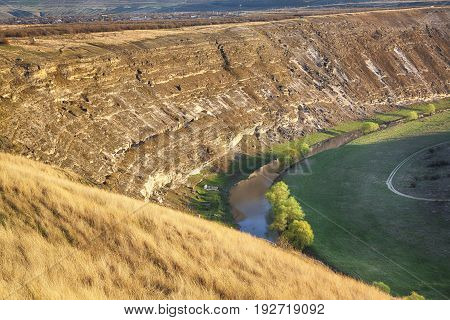 Moldavian landscape with hills and flowing river