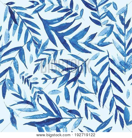 Seamless leaves pattern watercolor background. Beautiful botanical seamless pattern watercolor hand drawn branches