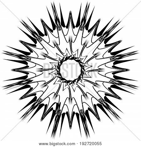 Abstract Radial Element. Design Element With Radial Rays, Beams. Abstract Geometric Illustration