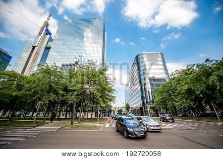 BRUSSELS, BELGIUM - June 01, 2017: CItyscape view on the financial district on the Roi Albert boulevard in Brussels