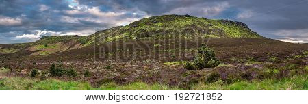 Simonside and Old Stell Crag Panorama - The Simonside Hills are popular for hiking. Simonside is the summit of these hills seen here with Old Stell Crag to the left