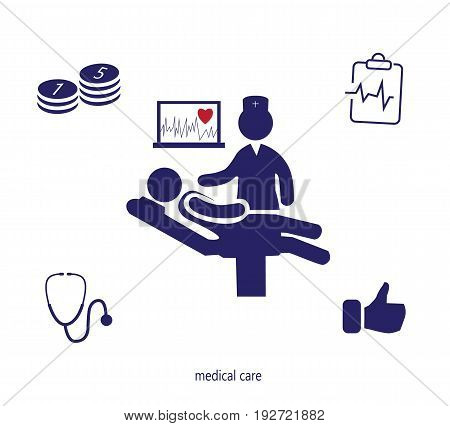 Icons set of medical examination. Doctor, ECG, cost of treatment, insurance