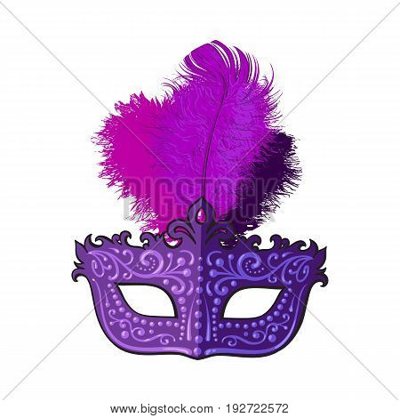 Beautifully decorated Venetian carnival mask with feathers and ornaments, sketch style vector illustration isolated on white background. Realistic hand drawing of purple carnival, Venetian mask