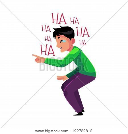 Young man laughing out loud, crying from laughter, pointing, bending knees, cartoon vector illustration isolated on white background. Portrait of young man bursting with laughter, laughing to tears